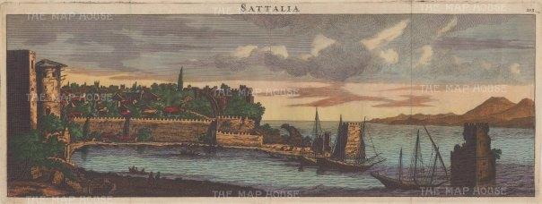 "Le Bryn: Antalya (Sattalia). 1702. A hand coloured original antique copper engraving. 24"" x 9"". [TKYp1313]"