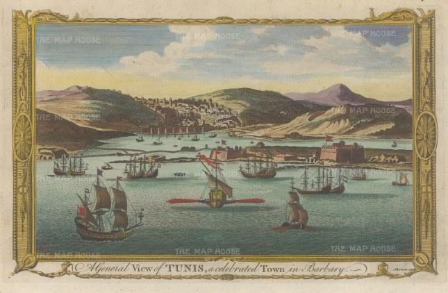 """Millar: Tunis, Tunisia. c1780. A hand coloured original antique copper engraving. 12"""" x 8"""". [AFRp1318]"""