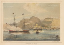 St Helena: Jamestown. Panoramic view of the harbour with Commodore Perry's steam frigate USS Mississippi in foreground.