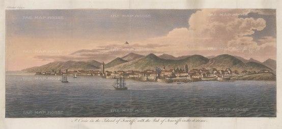 "Hall: St Croix and Teneriffe, Canary Islands. c1810. An original colour antique aquatint. 17"" x 7"" [AFRp922]"