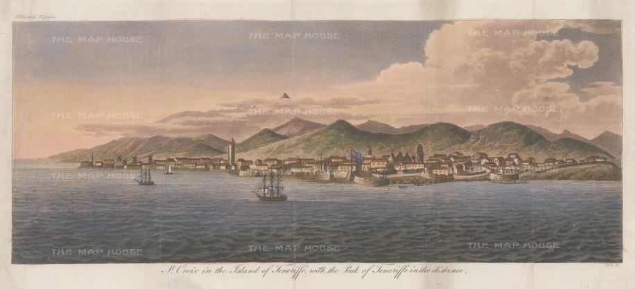 "Hall: St Croix and Teneriffe, Canary Islands. c1810. An original colour antique aquatint. 17"" x 7"" [AFRp922]"