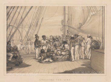 Crossing the Equatorial Line: A view of the naval ritual for Neptune, god of the seas.