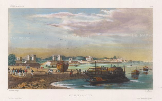 Hooghly River: View on the coast near to Calcutta. After Barthélemy Lauvergne, artist on the voyage of La Bonite 1836-7.