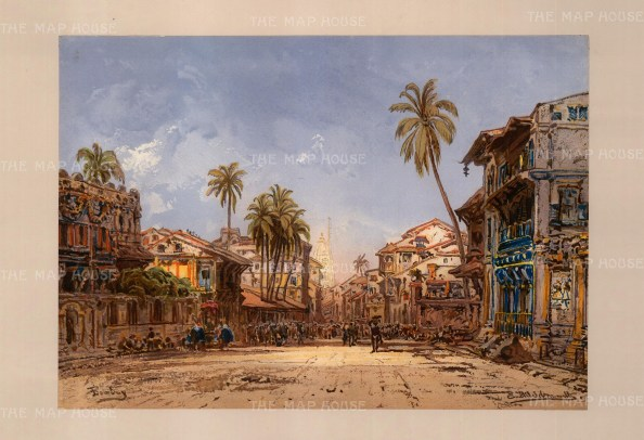 Kalbadevi Road, Bombay: Street view looking towards the temple. Drawn from life during Hildebrandt's 'round-the-world' voyage.