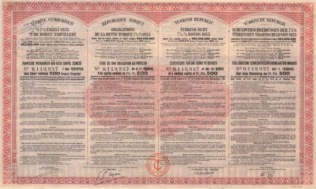 Bond Certificate for the Turkish Republic. Turkish, French, English and German text.