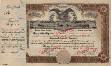 """Guayaquil Agencies Company: Share certificate. 1933. An original colour vintage mixed-method engraving. 13"""" x 8"""". [BONDp22]"""