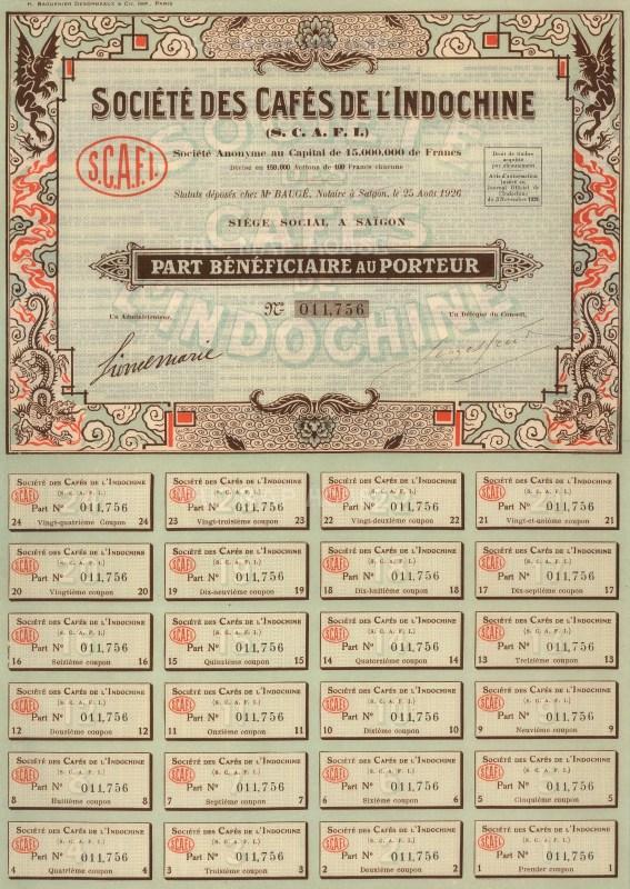 """H. Baguenier Desormeaux & Cie.: Societe des Cafes de l'Indochine Share Certificate. 1926. An original colour vintage mixed-method engraving. 10"""" x 14. [BONDp26]"""