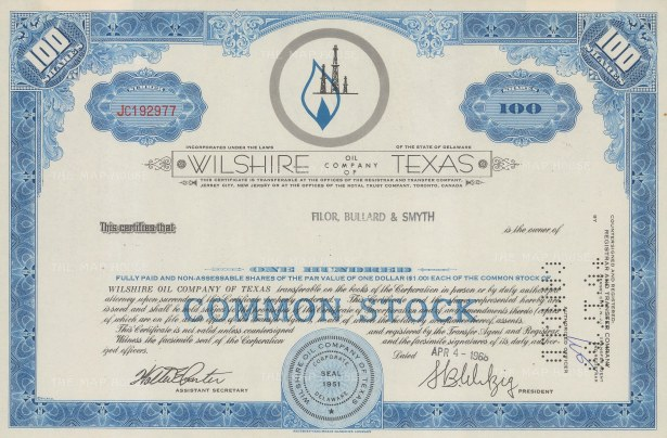 """S-C.B. Co.: Wiltshire Oil Company of Texas, One hundred shares. 1968. An original colour vintage mixed-method engraving. 12"""" x 8"""". [BONDp48]"""
