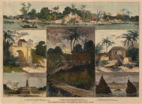"""Illustrated Sporting and Dramatic News: Hanoi, Vietnam. 1875. A hand coloured original antique wood engraving. 13"""" x 10"""". [SEASp1272]"""