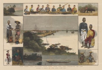 Saigon (Ho Chi Minh). Panorama with vignettes of, the Red River (Hong Ha) and inhabitants.