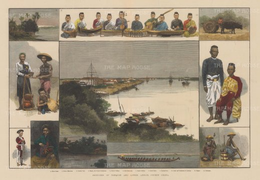 "Illustrated London News: Tonquin, Vietnam. 1883. A hand coloured original antique wood engraving. 15"" x 13"". [SEASp1297]"