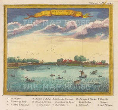"Chatelain: Jakarta, Java. 1719. A hand coloured original antique copper engraving. 6"" x 5"". [SEASp1364]"