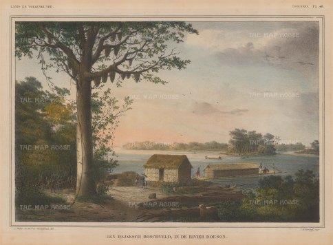 "Van de Velde: Doeson River, Borneo. 1850. An original colour antique lithograph. 13"" x 9"". [SEASp76]"