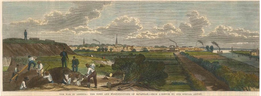 "Illustrated London News: Savannah, Georgia. 1863. A hand coloured original antique wood engraving. 14"" x 7"". [USAp4383]"