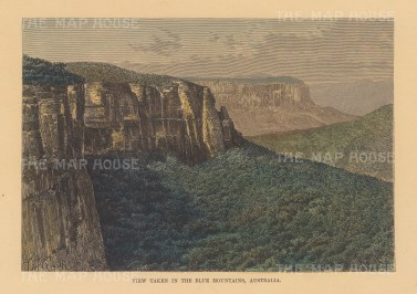 "Reclus: Blue Mountains. 1894. A hand coloured original antique wood engraving. 8"" x 6"". [AUSp727]"
