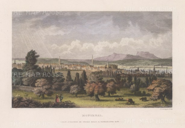 "Picturesque Canada: Montreal. c1845. A hand coloured original antique steel engraving. 8"" x 6"". [CANp599]"