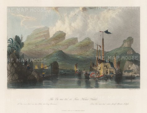 """Wright: Five Horse heads, Ou-ma-too Mountains. 1847. A hand coloured original antique steel engraving. 8"""" x 6"""". [CHNp1139]"""