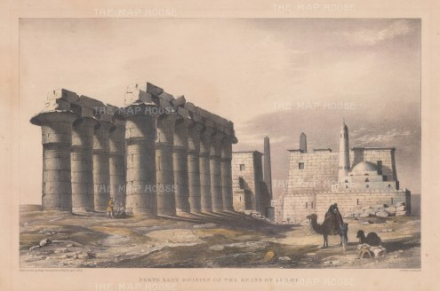 Luxor: View of the north east ruins of the temple and Pylon of Ramses II.