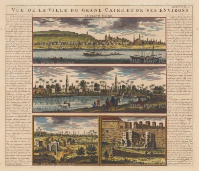 Cairo: Panoramic view on the Nile with views of the environs, aqueduct, and water-wheel with explanatory text in French.