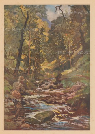"Edwards: Fly Fishing, Devon. c1935. An original vintage chromolithograph. 9"" x 14"". [FIELDp1168]"