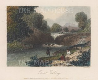 "Richardson: Trout Fishing. 1843. A hand coloured original antique steel engraving. 6"" x 4"". [FIELDp1508]"