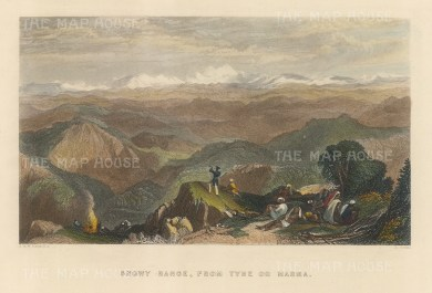 """White: Himalayas. 1838. A hand coloured original antique steel engraving. 8"""" x 6"""". [INDp1467]"""