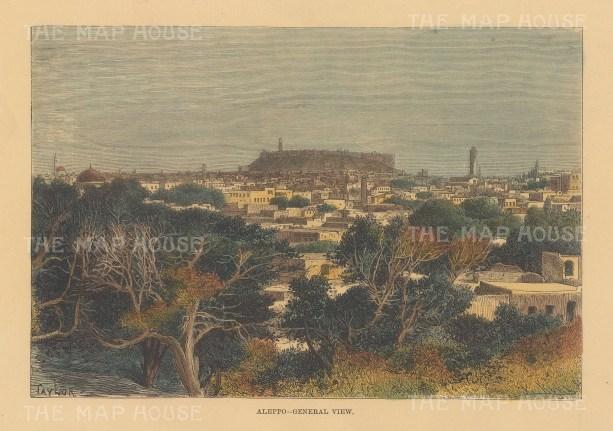 "Reclus: Aleppo. 1894. A hand coloured original antique wood engraving. 8"" x 6"". [MEASTp1655]"