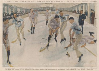 "ISDN: Ice Hockey. 1904. A hand coloured original antique photolithograph. 14"" x 10"". [SPORTSp2112]"