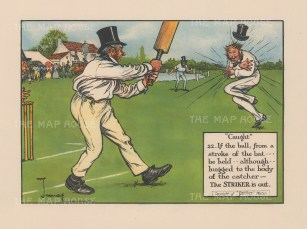 Caught: 22. If the ball, from a stroke of the bat be held although hugged to the body of the catcher:- The Striker is out.