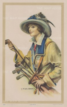 Good Drive. Lady golfer by the renowned American portraitist of beautiful women.