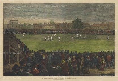 """Graphic Magazine: England v Australia, Oval. 1882. A hand coloured original antique wood engraving. 20"""" x 14"""". [SPORTSp3249]"""