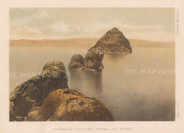 "US Geological Survey: Pyramid Lake, Nevada. 1878. An original colour antique lithograph. 9"" x 7"". [USAp3596]"