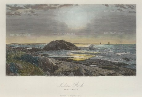 "Picturesque America: Narragansett, Rhode Island. 1873. A hand coloured original antique steel engraving. 10"" x 7"". [USAp3978]"