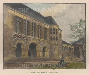 "Lovett: Harvard University, Massachusetts. 1891. A hand coloured original antique wood engraving. 5"" x 4"". [USAp4456]"