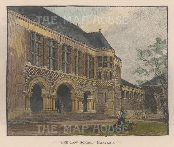 "Lovett: Harvard Uniersity, Massachusetts. 1891. A hand coloured original antique wood engraving. 5"" x 4"". [USAp4456]"