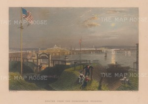 "Bartlett: Boston, Massachusetts. 1838. A hand coloured original antique steel engraving. 8"" x 6"". [USAp4600]"
