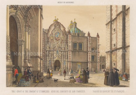 Mexico City: Convent of St. Francisco. View of the forecourt.