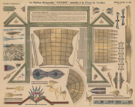 Dirigible balloon 'Patrie'. Diagram of parts with explanation in French.
