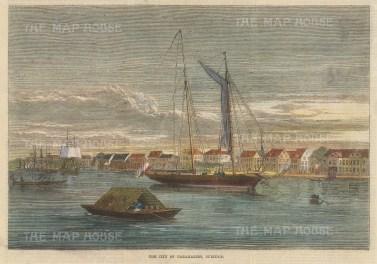 "Illustrated London News: Paramaribo, Suriname. 1864. A hand coloured original antique wood engraving. 10"" x 7"". [SAMp1014]"