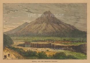 "Reclus: Ibarra, Ecuador. 1894. A hand coloured original antique wood engraving. 7"" x 5"". [SAMp676]"