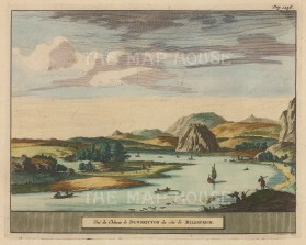 "Van der Aa: Dunbarton Castle. 1727. A hand coloured original antique copper engraving. 7"" x 5"". [SCOTp1675]"