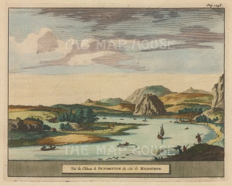"Van der Aa: Dunbarton Castle. 1727. A hand coloured original antique copper engraving. 7"" x 5"". [SCOTp1675]"