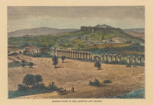 """Reclus: Ephesus. 1894. A hand coloured original antique wood engraving. 8"""" x 6"""". [TKYp1327]"""