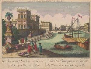 Genoa: Piazza di Pellicceria. View of Palazzo di Spinolla and its landing stage.