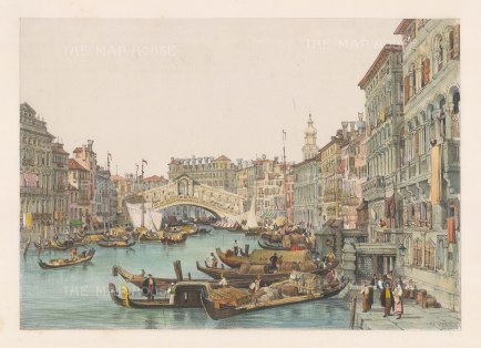 "Prout: Ponte Rialto, Venice. 1850. A hand coloured original antique lithograph. 16"" x 11"". [ITp1339]"