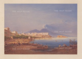Naples: Panorama from the Bay of Naples, looking towards the city with Mount Vesuvius in the distance. From Hildebrandt's 'Round the World' voyage.