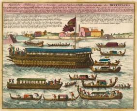 Venice: Sposalizio del Mare. Allegorical marriage of Venice to the Adriatic during the Festa della Sensa (Feast of Ascension). With the Bucentauro, the Galley of the Doge of Venice and other ships in front of San Nicolo al Lido.