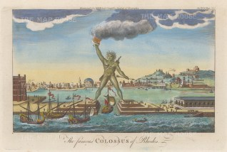 Colossus of Rhodes, Helios (Apollo). One of the 7 ancient wonders and destroyed by an earthquake 226 BC.