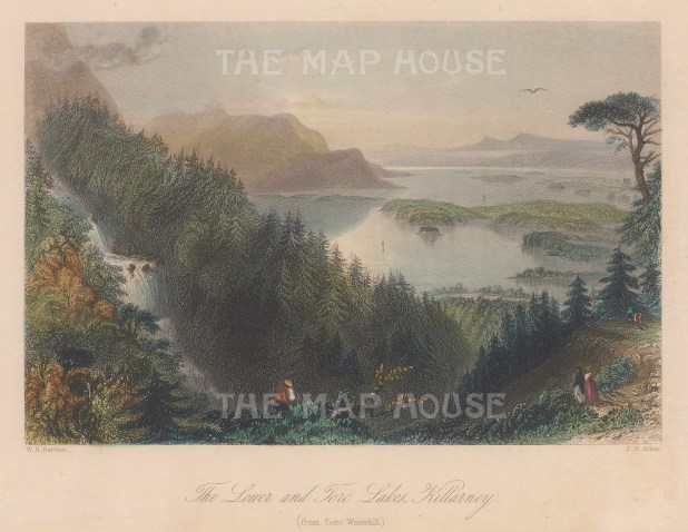 "Bartlett: Killarney. A hand coloured original antique steel engraving. 8"" x 6"". [IREp680]"