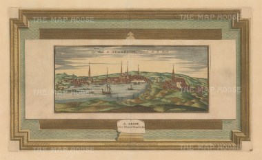 "Van der Aa: Stockholm, Sweden. c1727. A hand coloured original antique copper engraving. 17"" x 10"". [SCANp219]"